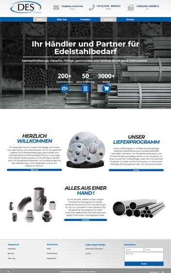 Edelstahlhändler Des GmbH Webdesign von Dennis Bruder